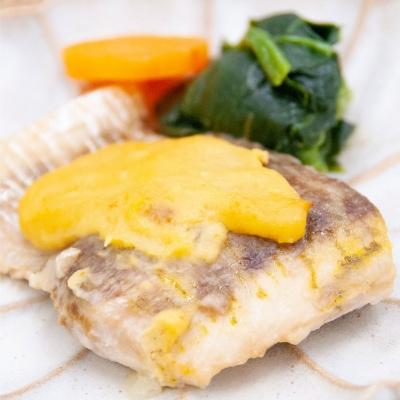 生ウニを使った白身魚の黄金焼きのイメージ